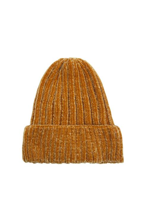 Gelbe Chenille Mütze