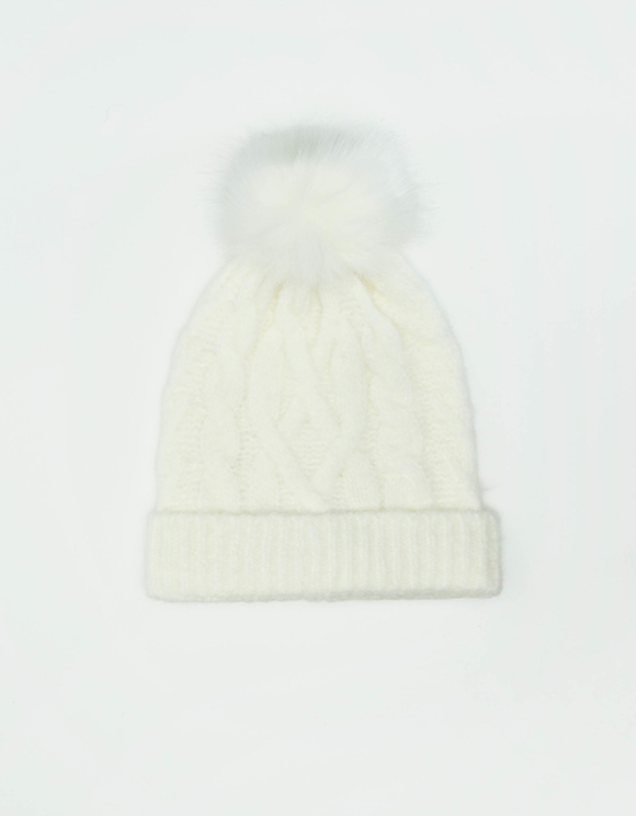 White Cable Knit Pom Beanie