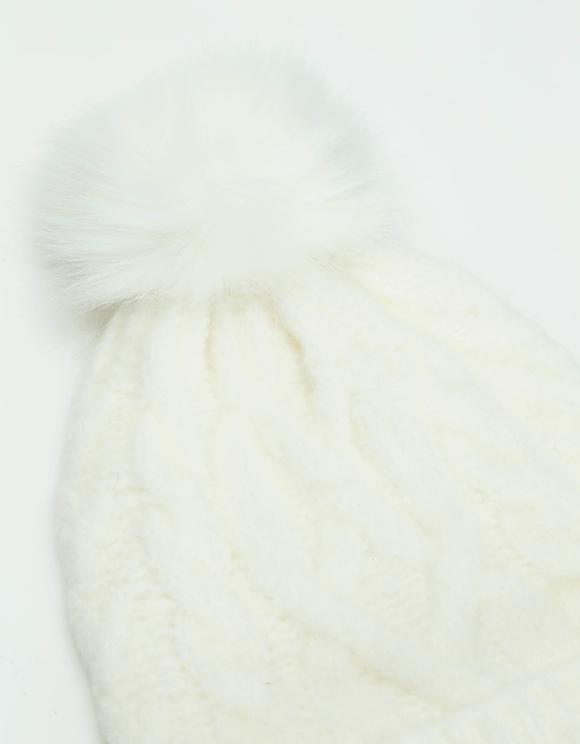 White Cable Knit Pom Beanie