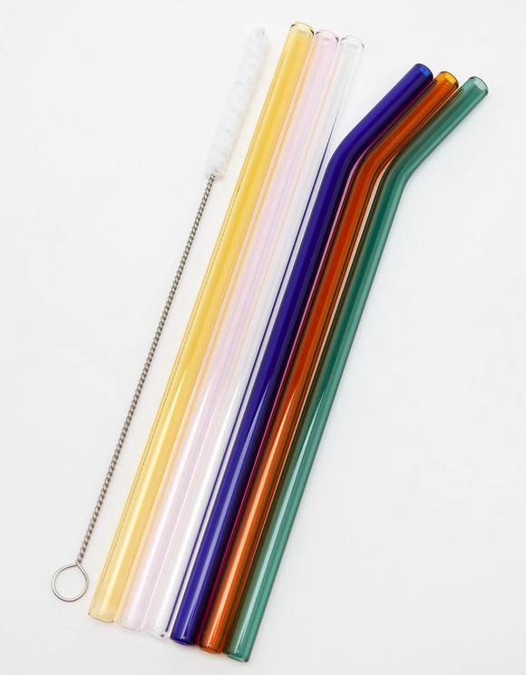 Reusable Glass Straw Set