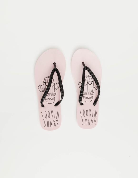 Rosa Flip-Flops mit Slogan