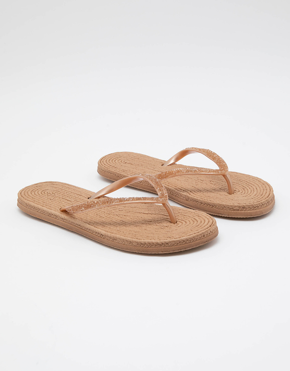 Beige Flip Flops with Raffia Sole