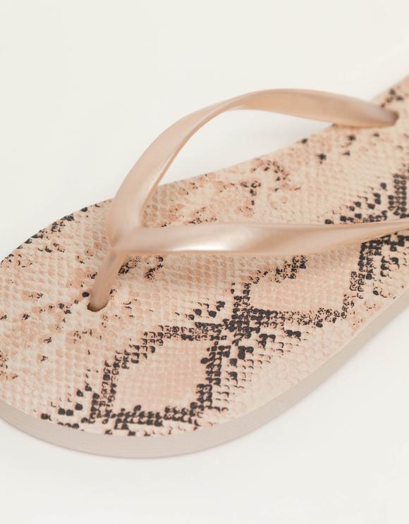 Beige Snake Flip Flops