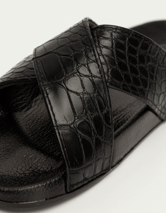 Black Cross Strap Sliders in Croc