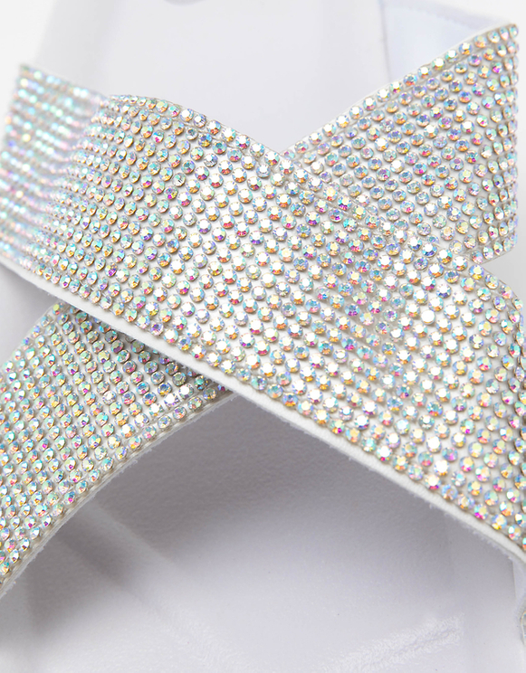 Mules Blanches avec Strass
