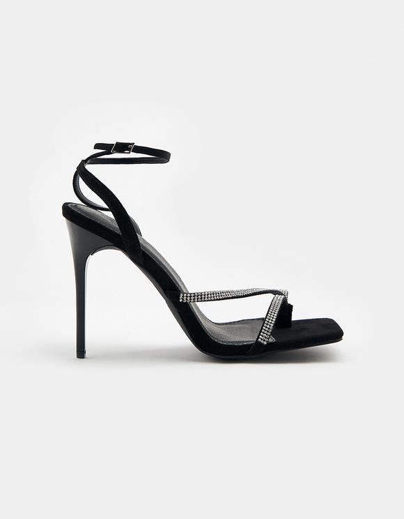 Sandales Noires à Strass