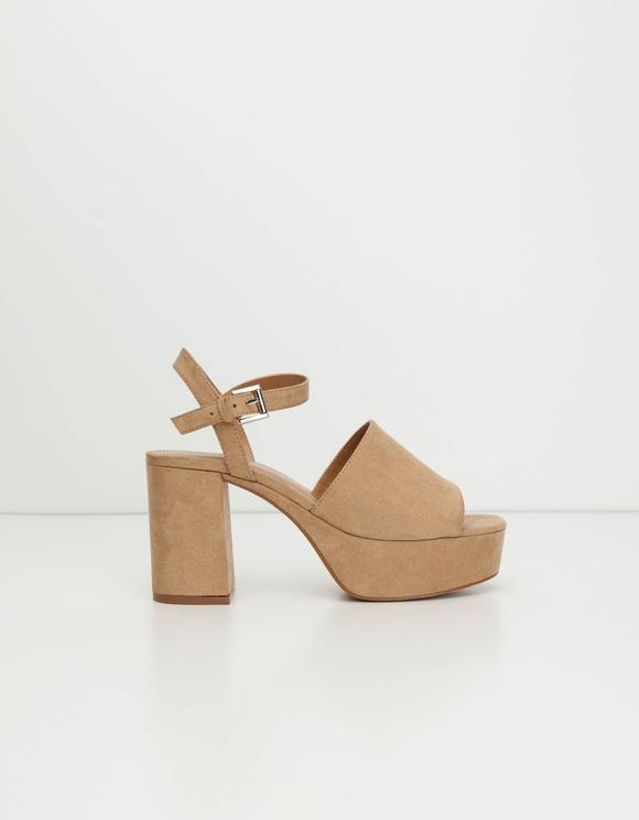 Beige Sandalen mit Blockabsatz