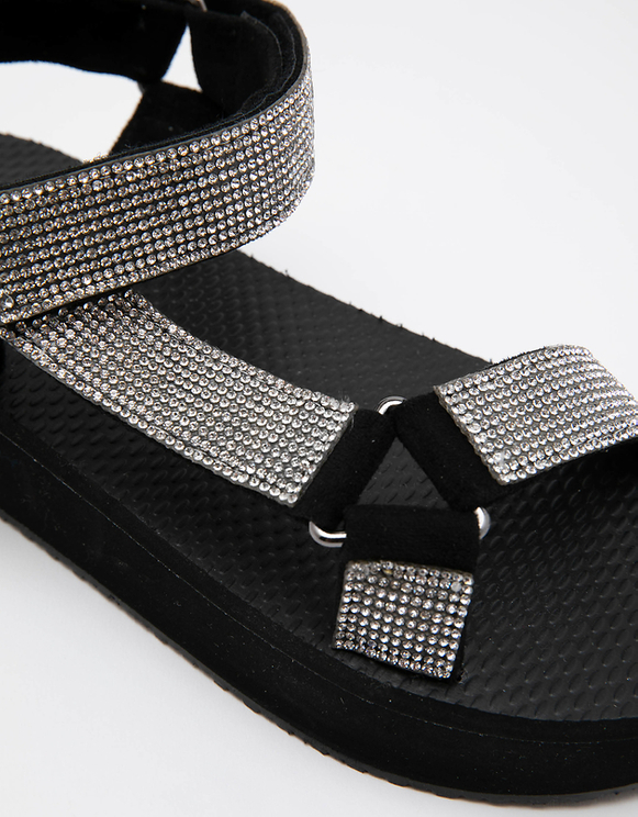 Black Chunky Sole Sandals with Rhinestones
