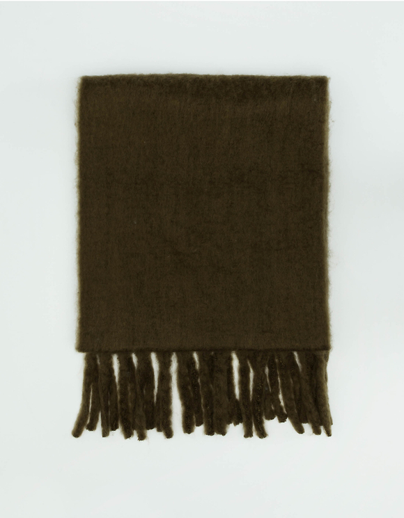 Khaki Long Scarf with Tassels