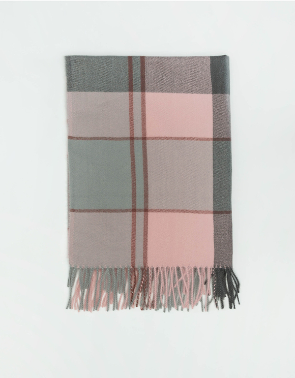 Pink Check Scarf with Tassels