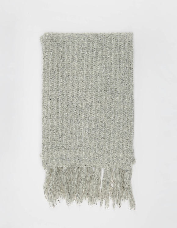 Gray Rib Knit Scarf with Fringes