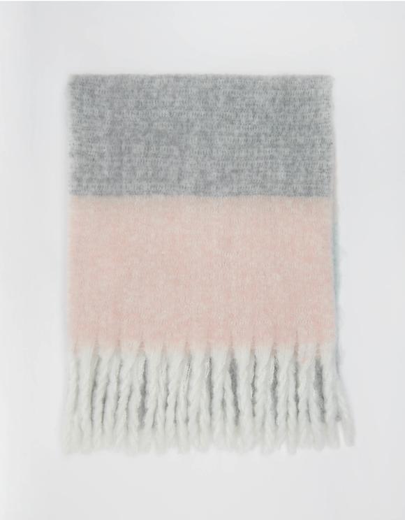 Schal mit Farbblock-Muster und Fransen