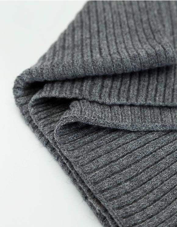 Gray Rib-Knit Scarf