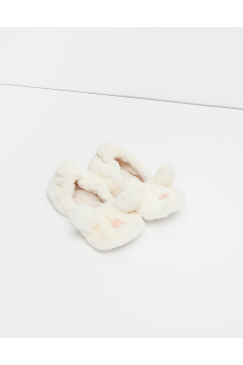 Chaussons Blancs Lapin