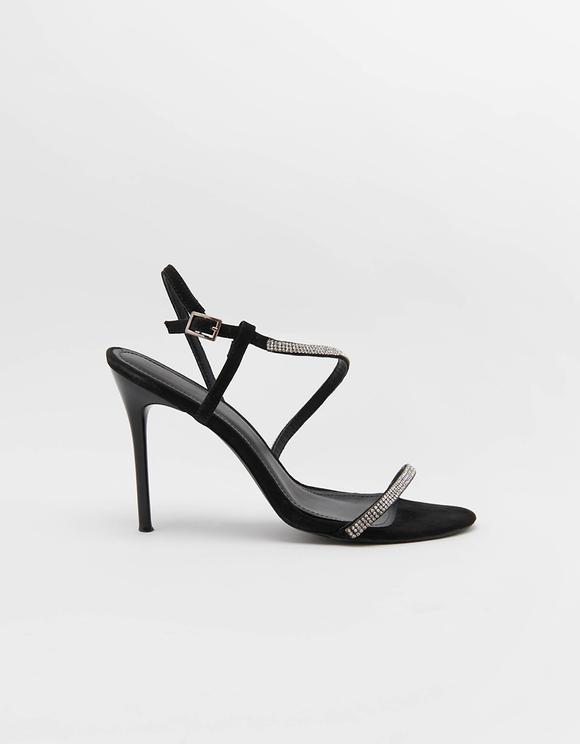 Sandały z paskiem z kryształkami