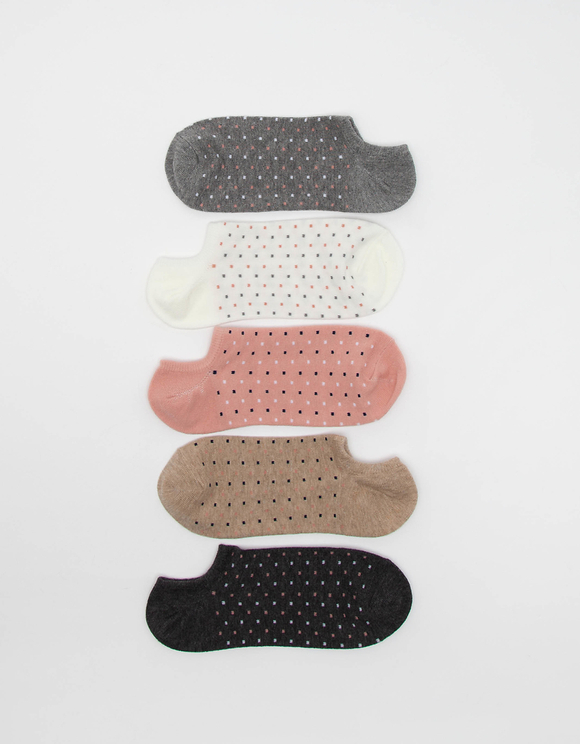 5 Pack Polka Dot Trainer Socks