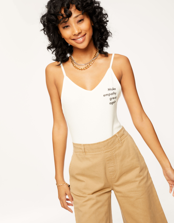 White Slogan Bodysuit