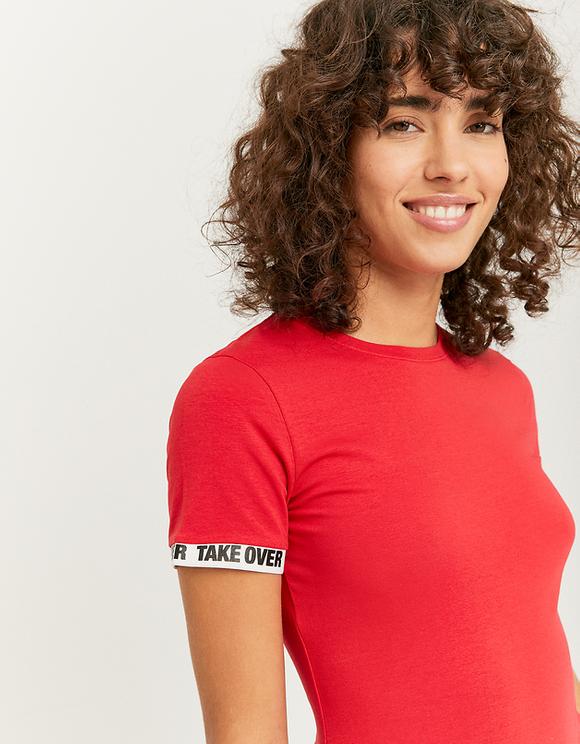 Red Printed Sleeves Bodysuit