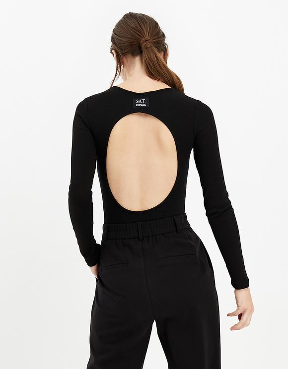 Black Back Cut Out Bodysuit