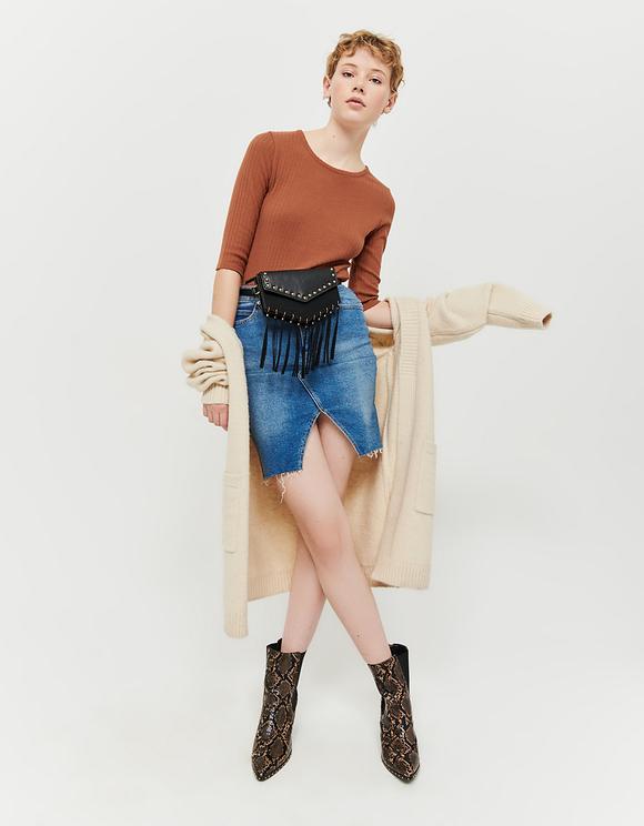 Brown Ribbed Bodysuit