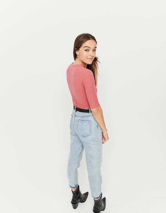 Pink Ribbed Bodysuit