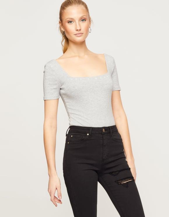 Grey Ribbed Bodysuit