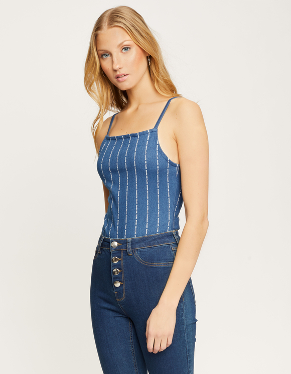 Blue Stripe Slogan Bodysuit