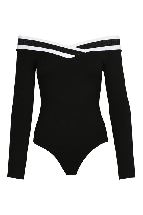 Black Criss Cross Bodysuit