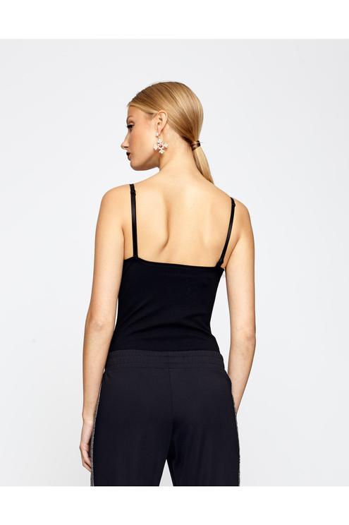 Black Bodysuit with Faux Fur