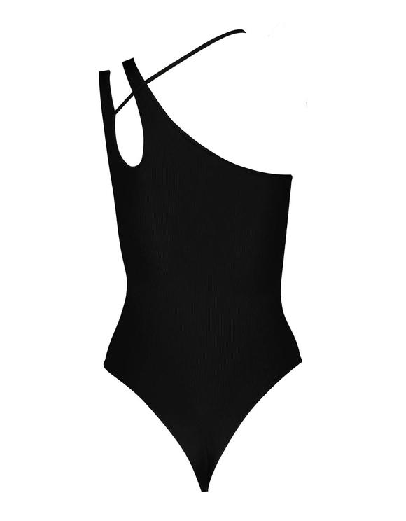 Schwarzer asymmetrischer Bodysuit