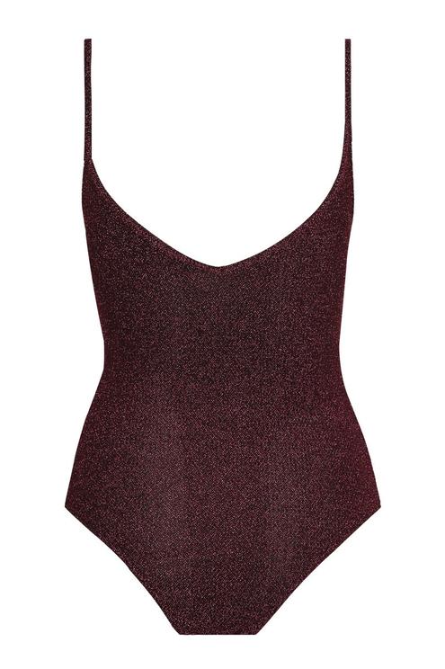 Burgundy Lurex Bodysuit