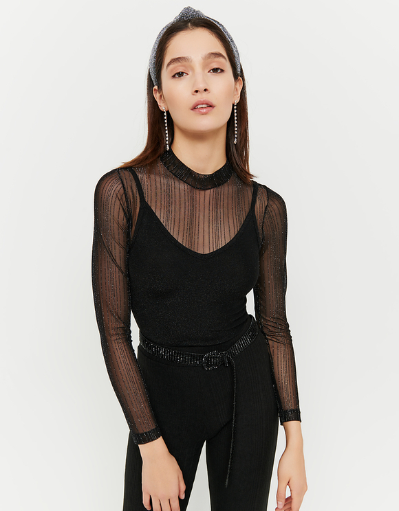 Black Lurex Bodysuit