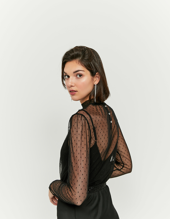 Black Mesh Top Bodysuit