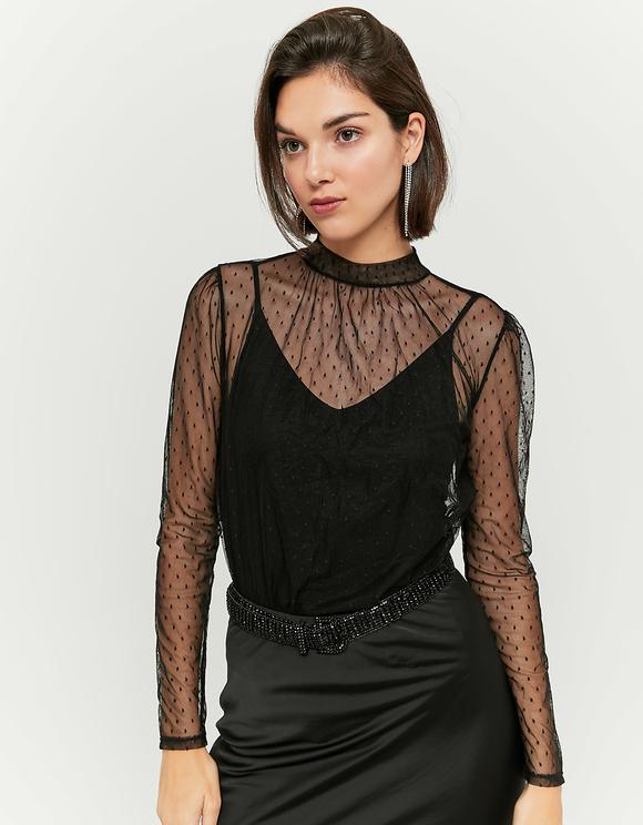 Black Mesh Top Bodysuit