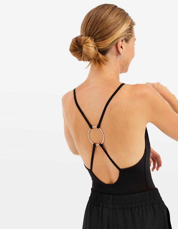 Black Open Back Bodysuit