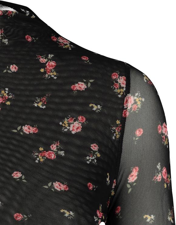 Schwarzer Body aus Maschenmaterial mit Blumen