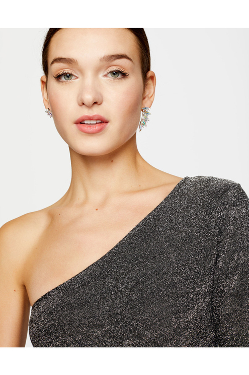 Lurex-Body mit One-Shoulder-Träger