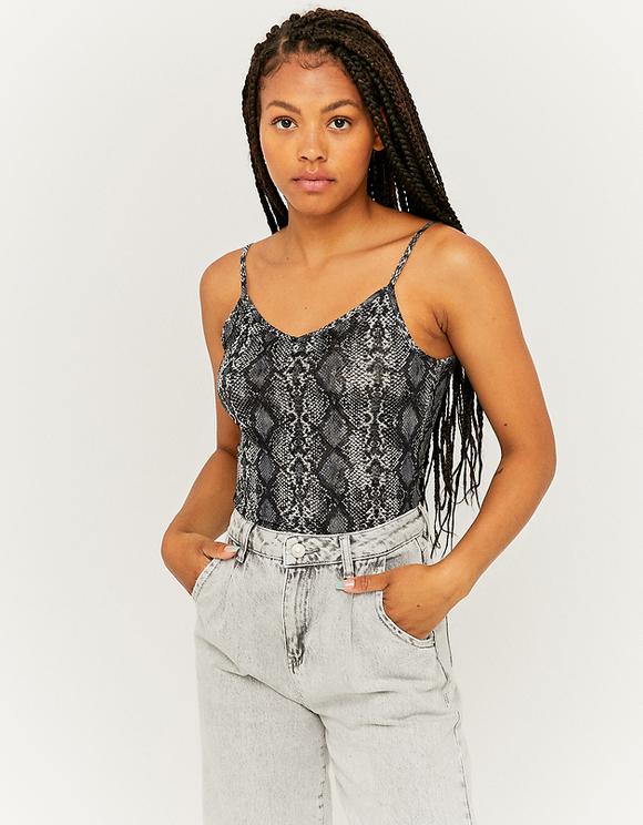 Mesh Snake Print Bodysuit
