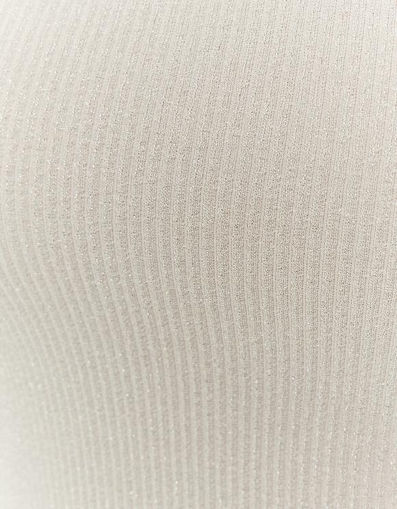 Body Blanc en Lurex Épaule Dénudée