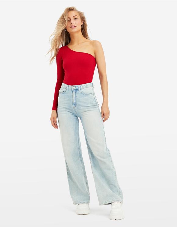 Red Asymmetrical Bodysuit