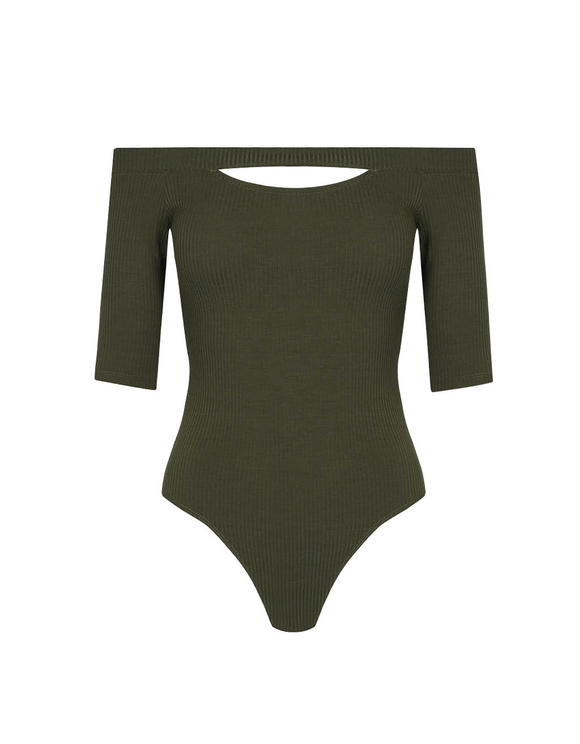 Khaki Off Shoulder Bodysuit