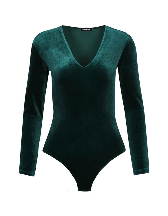 Green Velvet Bodysuit