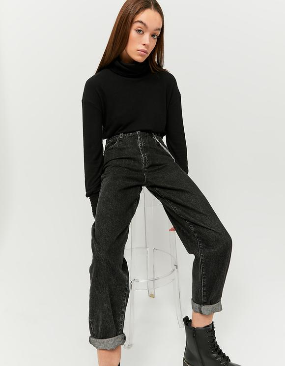 Black High Neck Crop Top