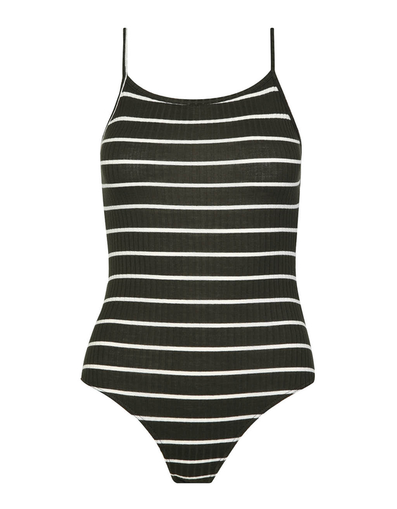 Dark Green Striped Bodysuit