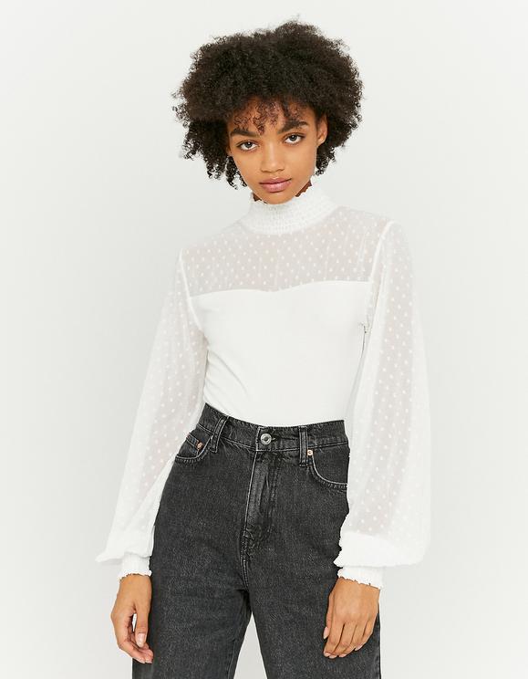 White Lace Insert Bodysuit
