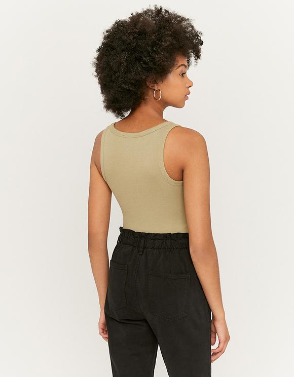 Green Ribbed Bodysuit