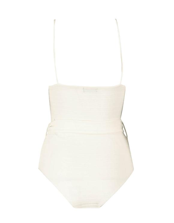 White Ribbed Bodysuit