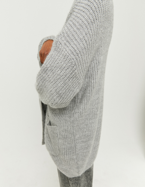 Long Puff Sleeve Cardigan