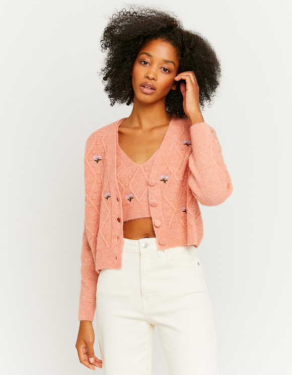 Pink Embroidered Cardigan