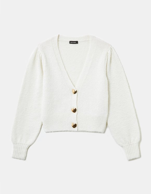 Heart Button Cropped Cardigan
